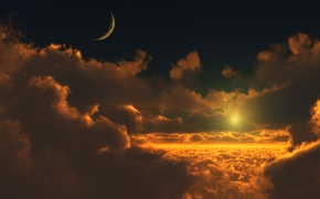 Picture the sun, the moon, Clouds