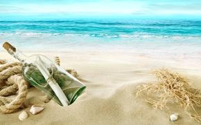 Picture sand, sea, beach, shore, shell, beach, sea, sand, shore, letter, bottle, seashells