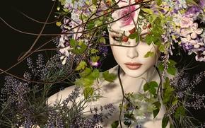 Wallpaper girl, flowers, face, wreath