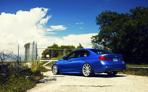 Picture BMW, BMW, wheels, blue, 335i, vossen, The 3 series, f30, rearside