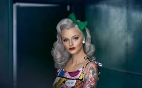 Picture girl, makeup, bow, tattoo