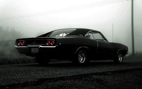Picture black, black, dodge, charger, r/t, 1968, Dodge charger, muskar Kar