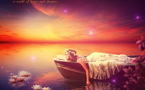 Picture water, girl, flowers, boat, EsotericIllusion