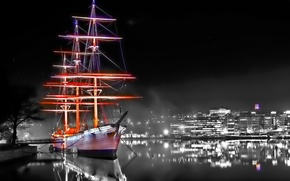 Picture WATER, SHIP, NIGHT, REFLECTION, MAST, SURFACE, HOME, MIRROR, LIGHTS, SURFACE