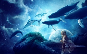 Picture Fantasy, Girls, Dream, Whales