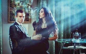 Wallpaper girl, room, smoke, bottle, picture, dress, brunette, cigarette, pair, costume, gloves, guy, curtains, table, rays ...