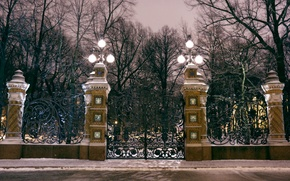 Picture light, night, gate, grille, lights, Saint Petersburg, light, night, gates