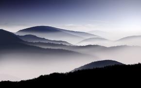 Wallpaper fog, morning, the sky, mountains
