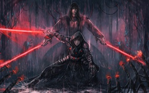 Picture girl, rain, art, star wars, guy, lightsaber, The Sith Lords