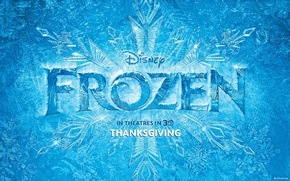 Picture poster, snowflake, winter, cartoon, Frozen, patterns, Cold heart, Disney, ice