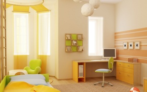Picture computer, design, style, table, background, room, the ball, books, Windows, bed, interior, chair, apartment, green, ...
