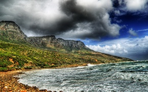 Picture sea, wave, the sky, clouds, mountains, clouds, storm, stones, hdr