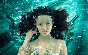 Picture look, mermaid, under water