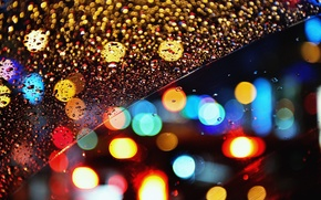 Wallpaper lights, bokeh, glass, night, rain, drops