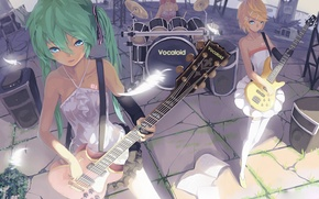 Wallpaper girls, the game, guitar, feathers, drums, hatsune miku, megurine luka, kagamine rin, Vocaloid