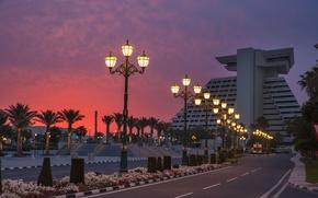 Picture road, sunset, design, lights, palm trees, the building, the evening, lights, Qatar, Doha, Doha, Qatar
