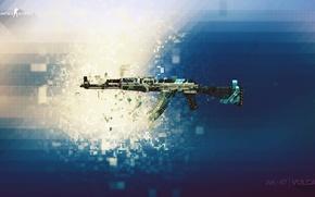 Picture weapon, AK-47, pixels, counter strike, global offensive, csgo, cs go, vulcun
