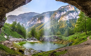 Wallpaper valley, mountains, waterfall, Alps, Italy, Friuli — Venezia Giulia, Alps, Italy, Friuli Venezia Giulia, Val ...