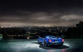 Picture night, the city, lights, view, Ford, Parking, sports car