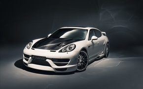 Wallpaper Hamann, background, tuning, white, Panamera, Porsche.Panamera, Cyrano, the front, tuning, Porsche