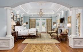 Picture design, retro, bed, interior, the ceiling, chandelier, bedroom