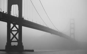 Wallpaper bridge, fog, photo, Golden gate, CA, San Francisco, h b