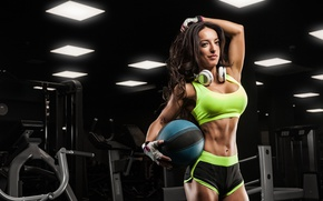 Picture ball, pose, female, fitness, gym, music headphones