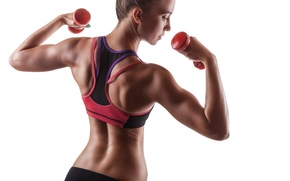 Picture white, fitness, dumbbells, sportswear
