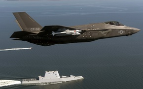 Wallpaper USA, army, F-35 Lightning, USS Zumwalt (DDG 1000), weapons
