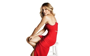 Picture pose, makeup, figure, dress, actress, hairstyle, blonde, photographer, white background, sitting, in red, on the …