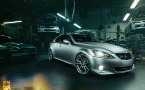 Picture Lexus, Subaru, Impreza, Mitsubishi, Lancer, workshop, silvery, lift, IS 250