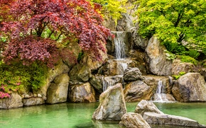 Wallpaper Park, waterfall, pond, the bushes, autumn, stones