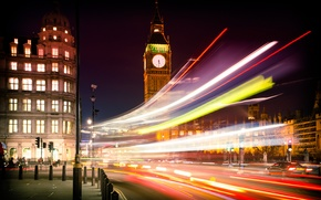 Picture road, machine, night, the city, lights, England, London, building, excerpt, lighting, UK, Big Ben, architecture, …