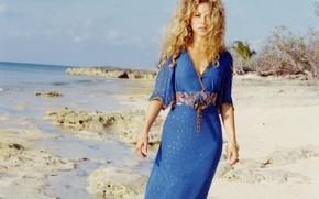 Picture beach, girl, nature, music, hair, blonde, singer, curls, Shakira, Sands, shakira, blue dress