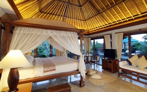 Picture interior, villa, table, pool, bed, lamp, TV, bedroom, chairs, pool.