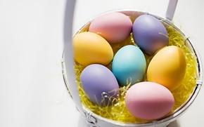 Wallpaper eggs, Easter, basket, painted