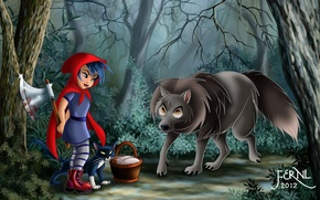 Picture cat, girl, little red riding hood, axe, art, basket, wolf, Red Riding Hood, blood, basket, ...