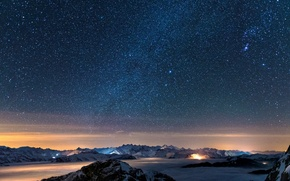 Picture the sky, stars, mountains, night, star