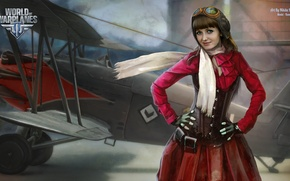Picture girl, the plane, scarf, girl, aviation, air, MMO, Wargaming.net, World of Warplanes, WoWp, BigWorld, arcade, …