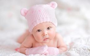 Picture eyes, children, hat, child, baby, Mood, newborn, Little girl