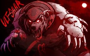 Picture the moon, blood, art, rage, claws, Dota 2, Ursa, Ulfsaar, Ursa Warrior