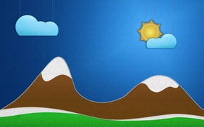 Picture grass, the sun, clouds, mountains, creative, landscapes, figure, minimalism, cloud, art, drawings