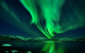 Picture stars, snow, night, Northern lights, Iceland