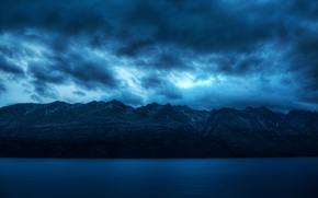 Picture mountains, widescreen, calm, HD wallpapers, Wallpaper, sea, water, blue, full screen, background, blue, silence, clouds, ...