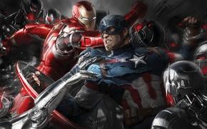 Picture fiction, art, battle, Iron Man, comic, Captain America, superheroes, Avengers: Age of Ultron, The Avengers: …