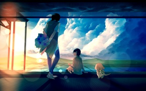 Picture the sky, cat, girl, the sun, clouds, sunset, flowers, dog, bouquet, anime, art, guy, wreath, …