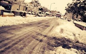 Picture winter, the city, street, Winter, Snow, Street