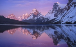 Picture mountains, lake, morning, Canada, Albert