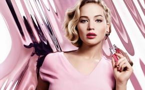 Wallpaper advertising, background, blonde, actress, Jennifer Lawrence, hairstyle, makeup, Jennifer Lawrence, perfume, model