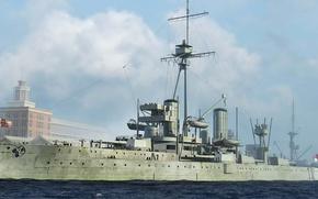 Picture ship, art, Navy, Dreadnought, military, battleship, British, battleship, WW1, HMS